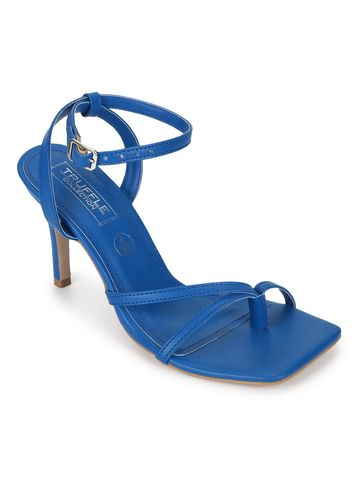 Truffle Collection | Truffle Collection Blue PU Strappy Stilettos