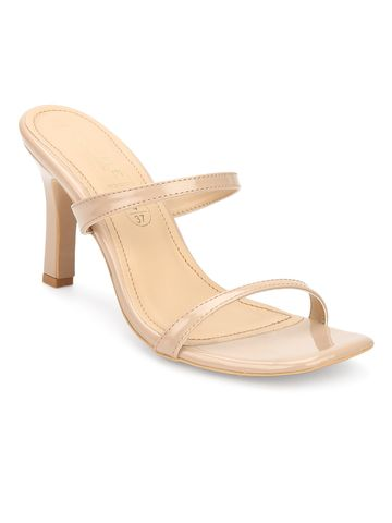 Truffle Collection | Beige Patent Slim Strap High Heel Mules