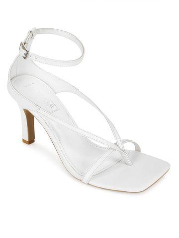 Truffle Collection   White PU Pointed Heel Strappy Stilettos