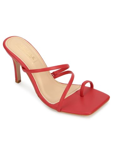Truffle Collection | Red PU Strappy Stiletto Heel Sandals
