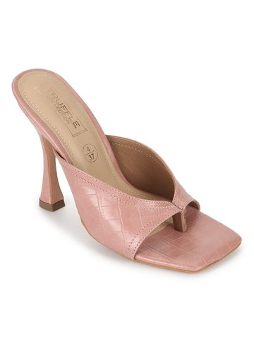 Truffle Collection | Truffle Collection Nude Pink PU High Heel Stiletto Mules