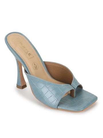 Truffle Collection | Truffle Collection Powder Blue PU High Heel Stiletto Mules