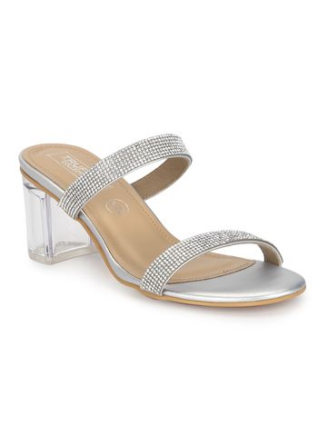 Truffle Collection | Silver PU Clear Heel Diamante Mules