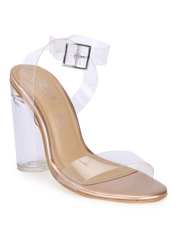 Truffle Collection | Gold Patent Perspex High Block Heels