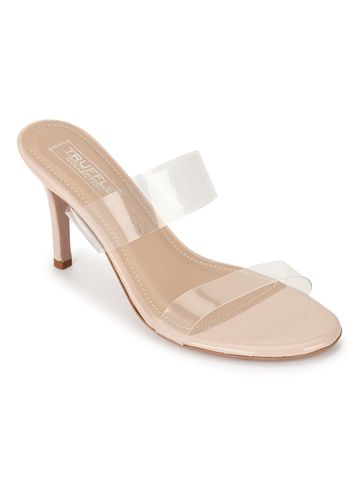 Truffle Collection | Truffle Collection Nude Patent Perspex Clear Stiletto Mules