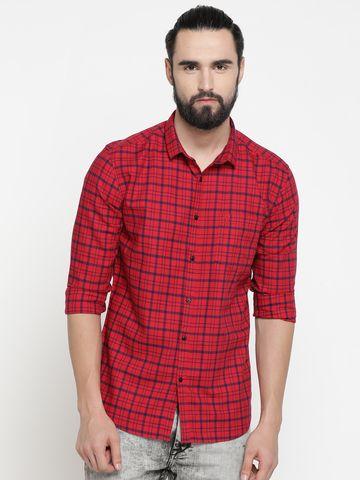 Showoff | Red Showoff Mens Cotton Checked  Slim Casual Shirts