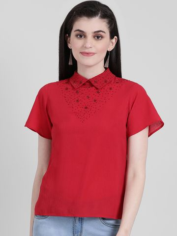 Zink London | Zink London Red Solid Regular Top for Women