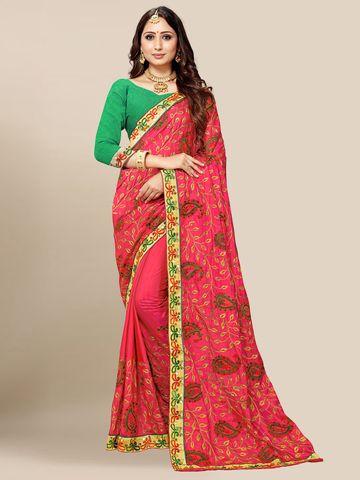 SATIMA | Women's Rose Pink Embroidered Silk Blend Saree