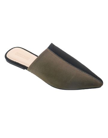 Trends & Trades | Women Olive Green & Black Colourblocked Synthetic Suede Mules
