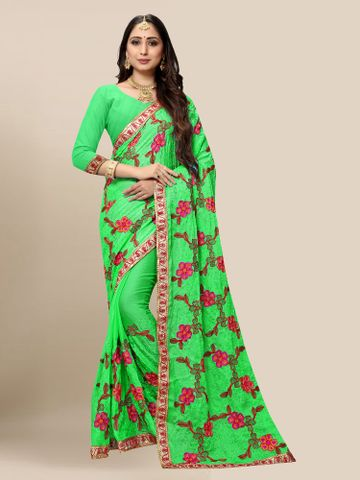 SATIMA | Women Embroidered Green Chiffon Half N Half Saree