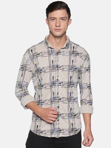 Showoff | SHOWOFF Men's  Cotton Casual Beige Printed Slim Fit Shirt