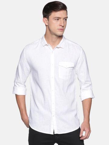Showoff | SHOWOFF Men's  Lenin Casual White Solid Slim Fit Shirt