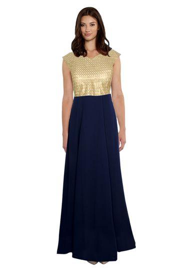 POONAM TEXTILE | Exclusive Designer Solid Blue Gown