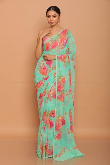 SATIMA | Satima Flower Print Sky blue Satin Saree