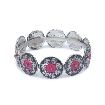 globus | Globus Dullsilver and Pink Ethnic Bracelet