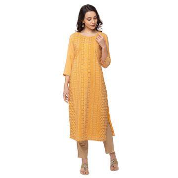 Ethnicity | Ethnicity Dupion Silk Straight Women Mustard Kurta