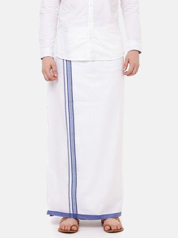Ramraj Cotton | VAMANA PLAIN  WHITE DHOTI BLUE BORDER