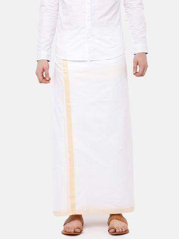 Ramraj Cotton | VAMANA SPL PLAIN  WHITE DHOTI BROWN BORDER