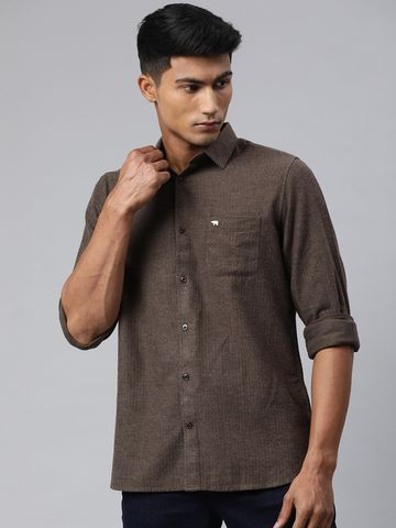 The Bear House | Men's Brown Solid Brushed Casual Shirt