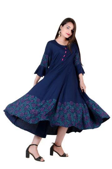 V Brown | BLUE BLOCK PRINTED RAYON ANARKALI