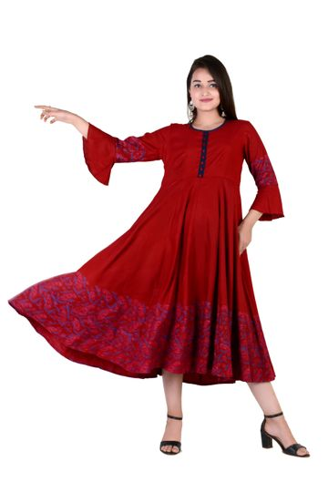 V Brown | RED BLOCK PRINTED RAYON ANARKALI