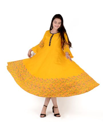 V Brown | YELLOW BLOCK PRINTED RAYON ANARKALI