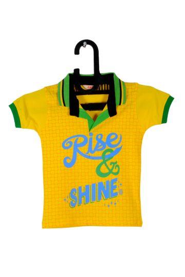 V Brown | Yellow Cotton Printed Polo Neck Boy T-shirt