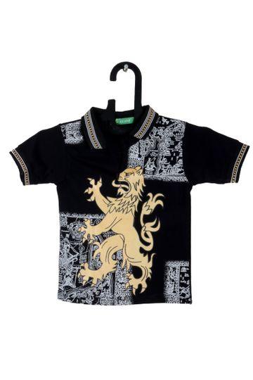 V Brown | Black Cotton Printed Polo Neck Boy T-shirt