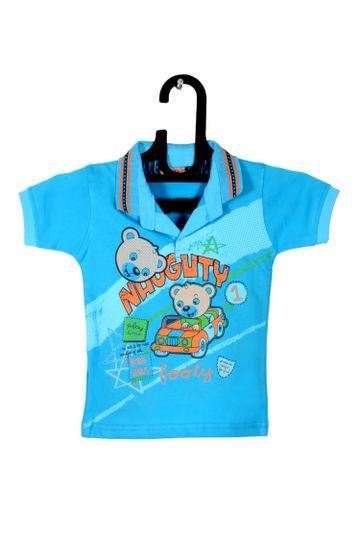 V Brown   Light Blue Cotton Printed Polo Neck Boy T-shirt