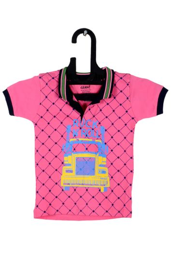 V Brown   Pink Cotton Printed Polo Neck Boy T-shirt
