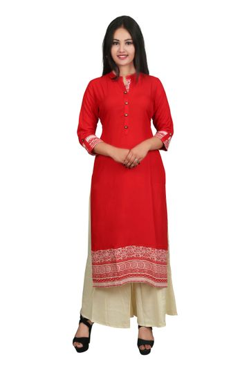 V Brown | RED SOLID PRINTED RAYON 3/4 SLEEVE STRAIGHT KURTA WITH BEIGE RAYON PALAZZO