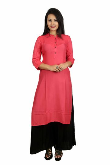 V Brown | PEACH SOLID PRINTEX COTTON 3/4 SLEEVE STRAIGHT KURTA WITH BLACK RAYON PALAZZO