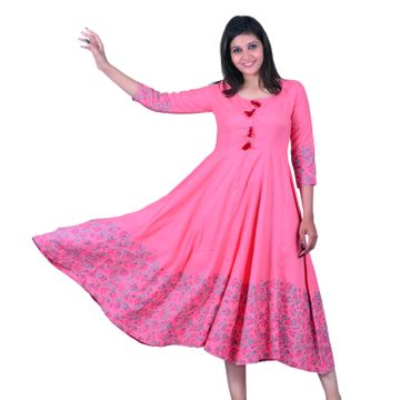 V Brown | PINK BLOCK PRINTED RAYON ANARKALI KURTA