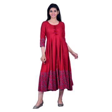 V Brown | RED BLOCK PRINTED RAYON ANARKALI KURTA