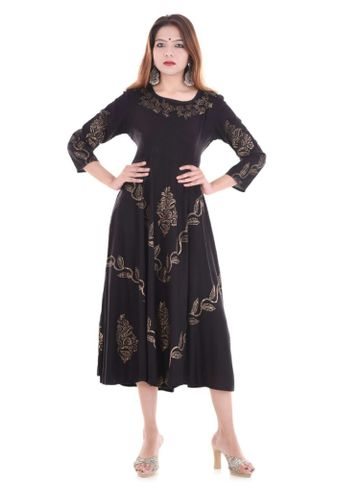 V Brown | BLACK BLOCK PRINTED RAYON ANARKALI KURTA