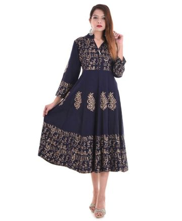 V Brown | BLUE BLOCK PRINTED RAYON ANARKALI KURTA