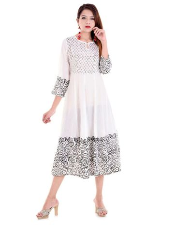 V Brown | WHITE BLOCK PRINTED RAYON ANARKALI KURTA