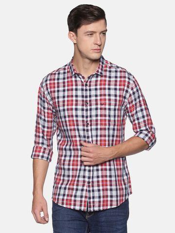 Showoff | SHOWOFF Men's  Cotton Casual Beige Checks Slim Fit Shirt