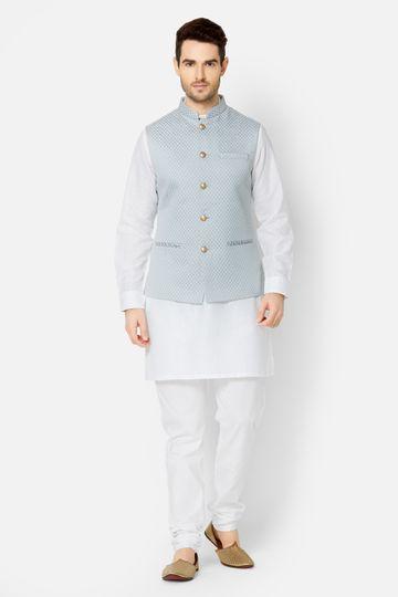 Ethnicity | Grey jacquard sleeveless jacket