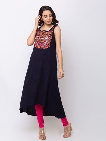 Ethnicity | Ethnicity Cotton Flax Gathered Women Navy Kurta