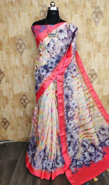 SATIMA | Satima Multi color line blend digital print saree