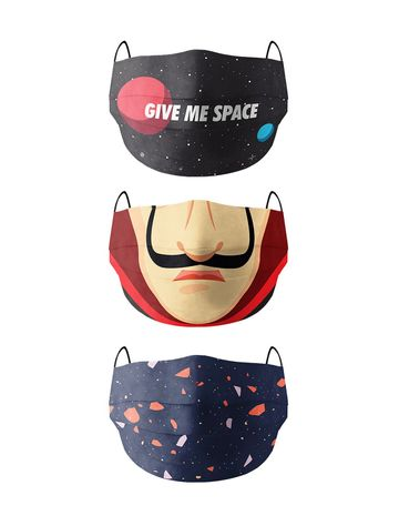 Soxytoes   Soxytoes Protective Super Safe 100% Fine Weave Cotton Anti Pollution Multicolor Reusable Filter Washable Face Mask (Pack Of 3)