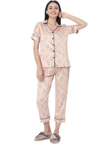 Smarty Pants | Smarty Pants women's silk satin peach color & turquoise blue dog print night suit