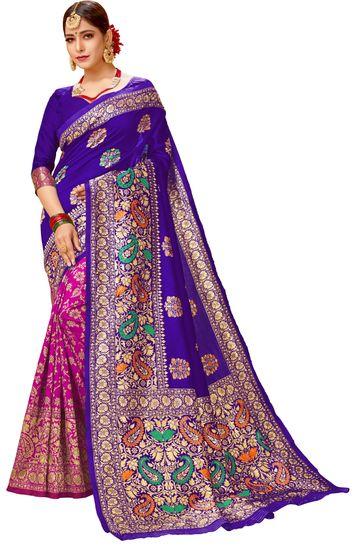 Glemora | Glemora Blue & Pink Lichi Cotton Virasat Saree With Unstitched Blouse