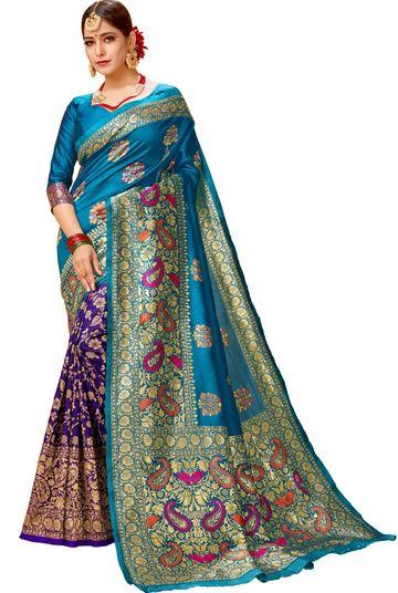 Glemora | Glemora Rama & Blue Lichi Cotton Virasat Saree With Unstitched Blouse