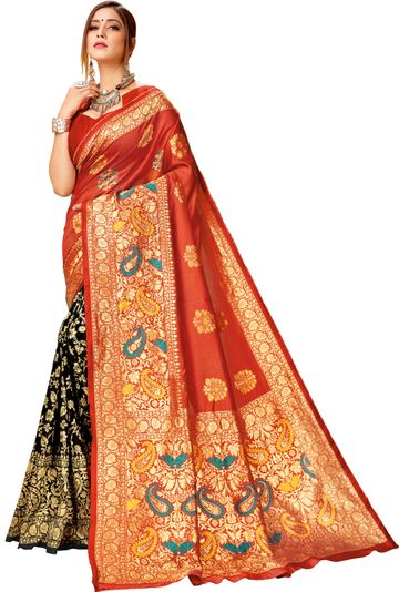 Glemora | Glemora Red & Black Lichi Cotton Virasat Saree With Unstitched Blouse