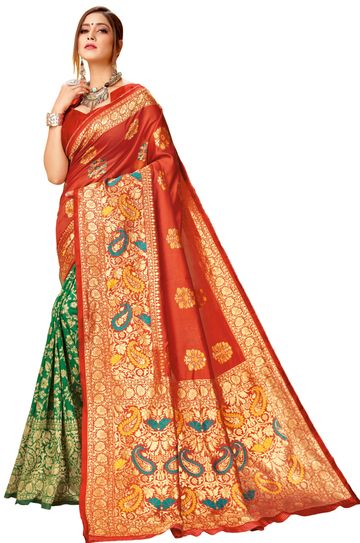 Glemora | Glemora Red & Green Lichi Cotton Virasat Saree With Unstitched Blouse
