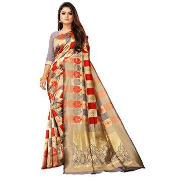 POONAM TEXTILE   Banarasi Jacquard Silk Blend Grey Checkered Woven Zari Saree