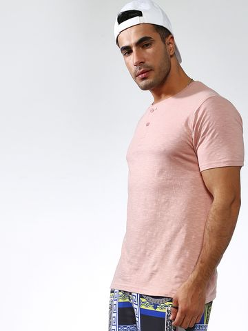 Blue Saint | Blue Saint Men's Pink Skinny Fit T-Shirts