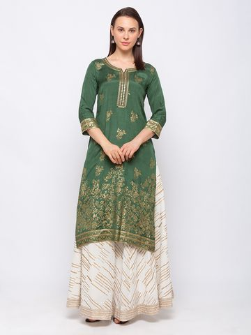 Ethnicity | Ethnicity Art Silk Straight Women Green Kurta